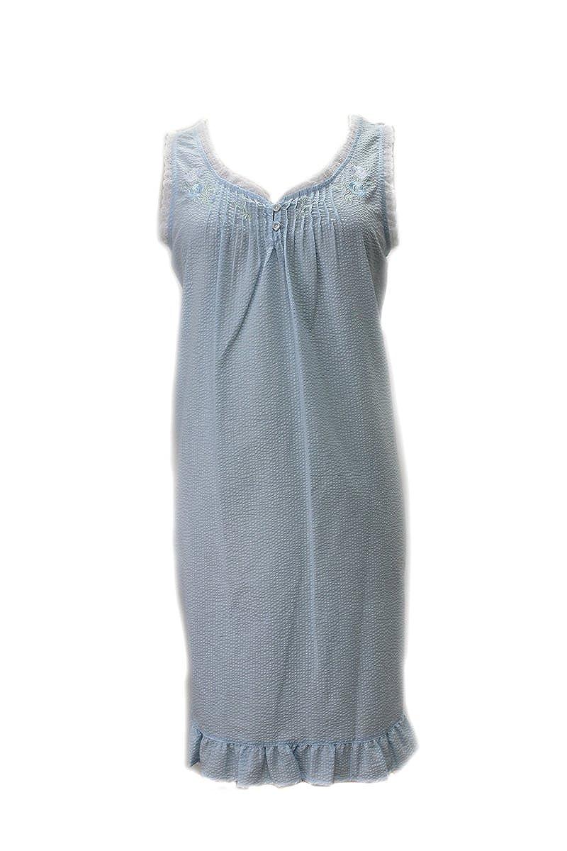 Miss Elaine New Blue Peri Short Seersucker Sleeveless Gown Nightgown ...