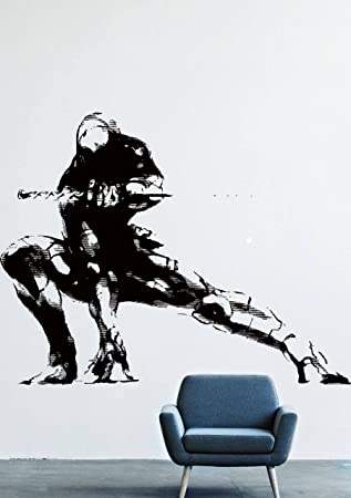 Wall decals decor viny gray fox metal gear solid ninja katana sword lm0191