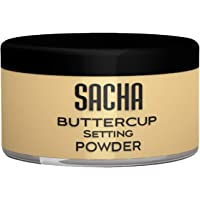 Buttercup Powder by Sacha Cosmetics. No Ashy Flashback. Blurs Fine Lines and Pores. Best Loose, Translucent Face Powder for Setting Makeup Foundation. Medium to Dark Skin Tones, 1.25 oz