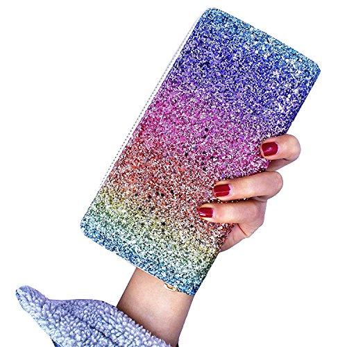 Badiya Fashion Glitzy Glamorous Glitter Bling Wallet Women Zip Around Clutch Purse (Multicolour) from Badiya