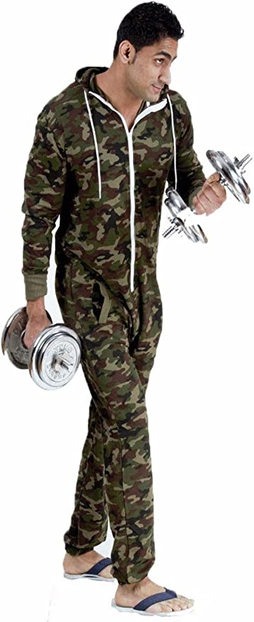 Ladies Army Onesie Camouflage Hooded Zip Military Playsuit All In One Piece Jumpsuit Large UK 12