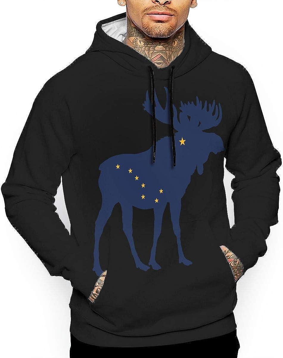 Jinyimingpi Mens Hoodies Alaska State Moose Flag Full Print Sweatshirt Pullover Jackets Hooded
