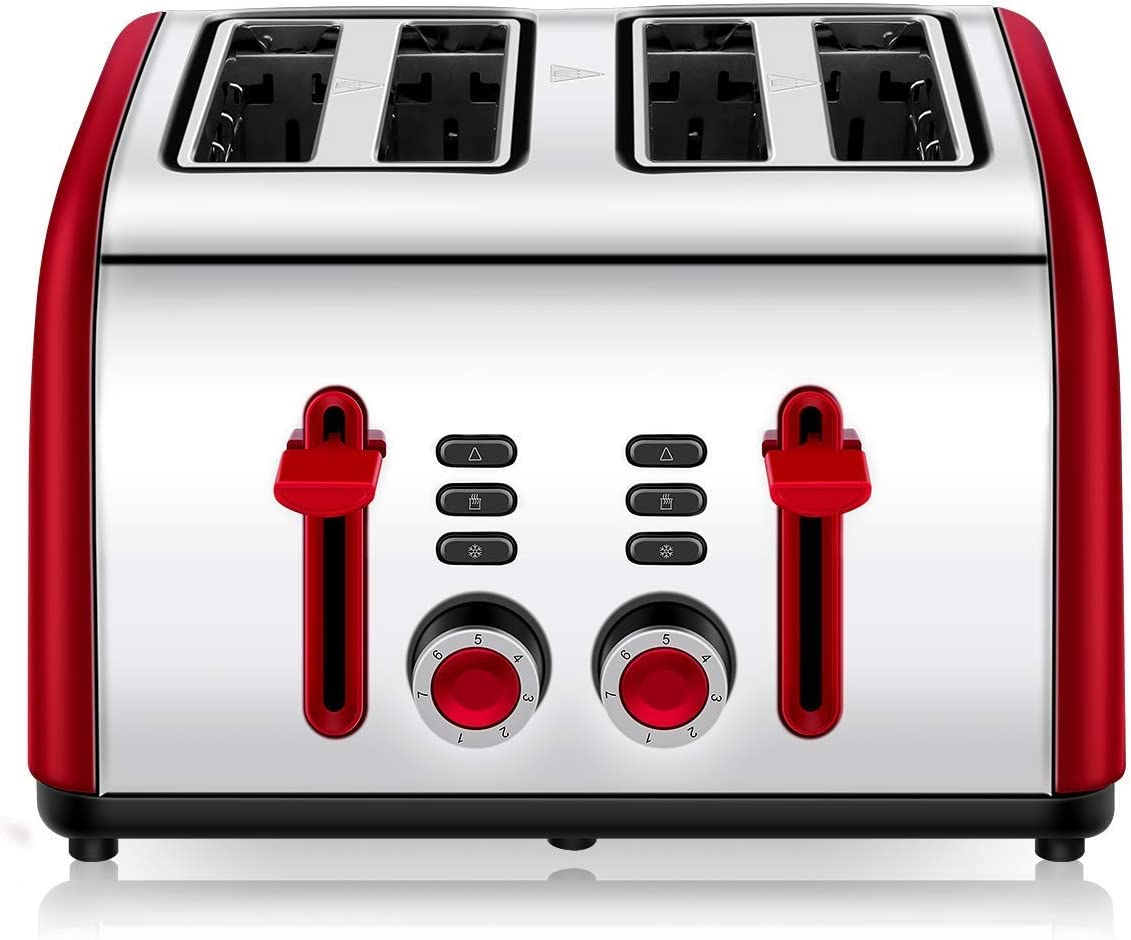 Toaster 4 Slice, CUSINAID 4 Wide Slots Stainless Steel Toasters with Reheat Defrost Cancel Function, 7-Shade Setting, Red