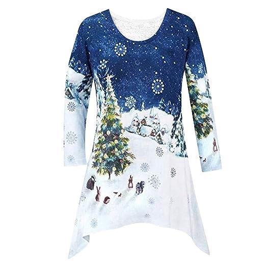 118850ddd39 Sunhusing Ladies Christmas Print Casual Top T-Shirt Women Xmas Shirt Tunic  Winter Blouse at Amazon Women's Clothing store: