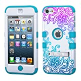 iPod touch 5th 6th Generation Flower Lace Ombre,White Plastic/Blue Silicone 3-Piece Style Hybrid Hard Case Cover for Apple- For Girls And Boys-Shockproof Dustproof with Stand (Flower Lace Ombre)