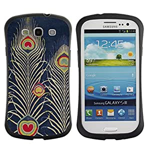 Suave TPU GEL Carcasa Funda Silicona Blando Estuche Caso de protección (para) Samsung Galaxy S3 I9300 / CECELL Phone case / / Navy Bluer Feather Art Drawing /