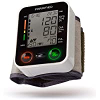 Automatic Wrist Blood Pressure Monitor by Paramed:Blood-Pressure Kit of Bp Cuff + 2AAA and Carrying case - Irregular Heartbeat Detector & 90 Readings Memory Function & Large LCD Display - FDA approved
