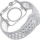 Bandmax Watch Band Weiche TPU Silikon Sportarmband Ersatzarmband Wrist Armband mit Stiftschließe für iWatch Apple Watch 38MM Series 1/2(Flat Silber/Weiß)