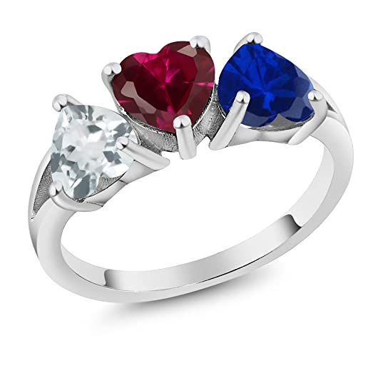 Build Your Own Ring   Personalized 3 Birthstone Heart Ring In Rhodium  Plated 925 Sterling Silver