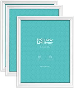 LaVie Home 8x10 Picture Frames(3 Pack, White)Wall or Tabletop Display, Graceful Beveled Detail Design Photo frames with High Definition Glass, Perfect for Home Decor, Set of 3 Basic Collection