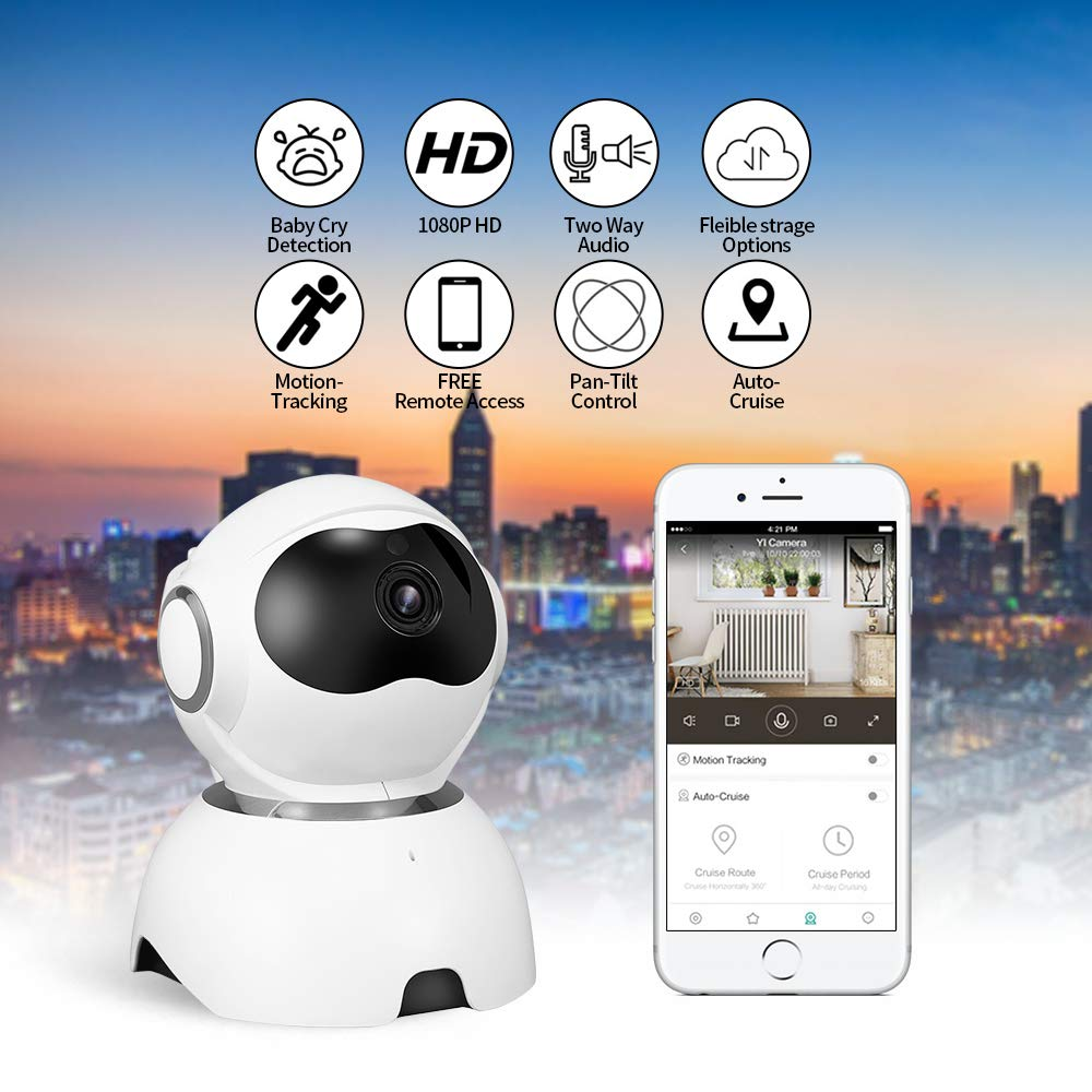 Monitor para Ni/ños y Mascotas Detecci/ón de Movimiento Audio Bidireccional C/ámara de Seguridad con Visi/ón Nocturna OWSOO 1080p HD C/ámara IP Inal/ámbrico de Vigilancia