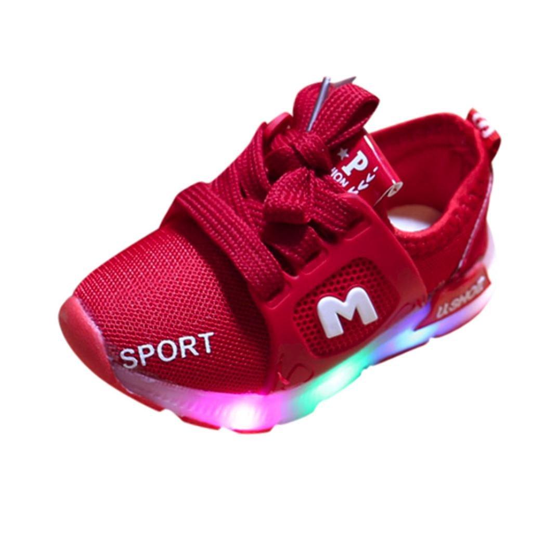 SOMESUN Jungen Mädchen LED Licht Sportschuhe Baby Kinder Fashion Leuchtend Sneaker Weiche Atmungsaktiv Mesh Laufschuhe Klassisch Elastisch Beiläufig Freizeit Tennisschuhe