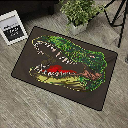 Corridor Door mat W19 x L31 INCH Dinosaur,Aggressive Wild T-Rex Head Colorful Hand Drawn Style Jurassic Period,Dark Brown Fern Green Easy to Clean, no Deformation, no Fading Non-Slip Door Mat Carpet