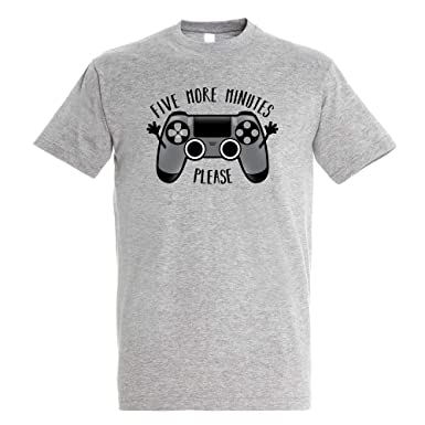Camiseta Play Five More Minutes - Gamer - Humor - Color Gris Mezcla - Algodón Puro - Serigrafía: Amazon.es: Ropa y accesorios