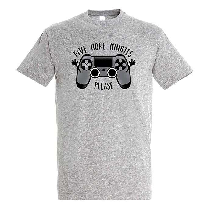 089daf389 Camiseta Play Five More Minutes - Gamer - Humor - Color Gris Mezcla - Algodón  Puro - Serigrafía  Amazon.es  Ropa y accesorios