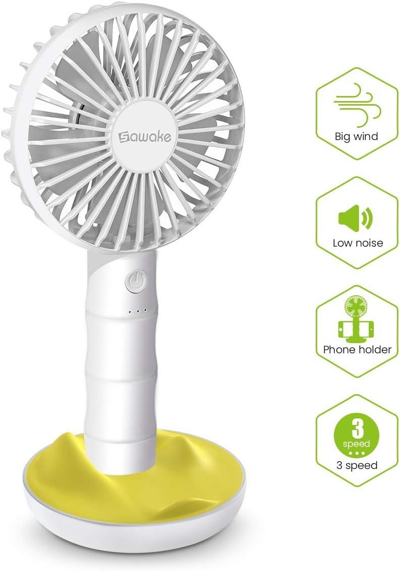 SAWAKE Hand Fan, Ventilador Portátil USB con Base, Mini Ventilador Recargable Bamboo Design Fan con 3 Velocidades Ajustables, Ventilador de Mano Adecuado para Oficina, Hogar, Viajes, etc.