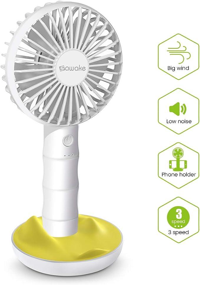 SAWAKE Hand Fan, Ventilador Portátil USB con Base, Mini Ventilador ...