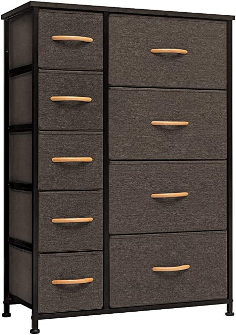 Wood Top Gray Wood Handles Crestlive Products Vertical Dresser Storage Tower Hallway Entryway Organizer Unit for Bedroom Sturdy Steel Frame Easy Pull Fabric Bins 6 Drawers Closets