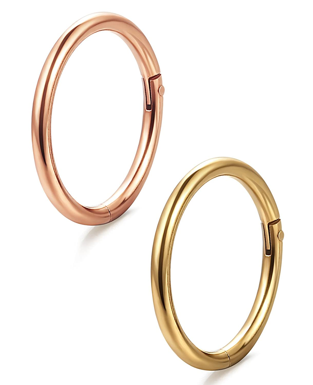 ORAZIO 2-5Pcs 16G Stainless Steel Nose Ring Body Piercing Ear Hoop Seamless Clicker Ring