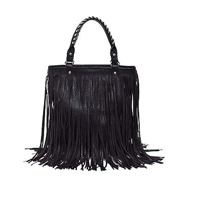 Caszel Women s Large Capacity Waterproof PU Leather Fringe Tassel Shoulder  Bag Casual Hobo Handbag Crossbody Bag 7dff438f8501a