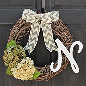 All Season Wreath for Personalized Spring/Year Round Front Door Decor; Monogram Initial Choice; Green and Cream Faux Hydrangeas 91