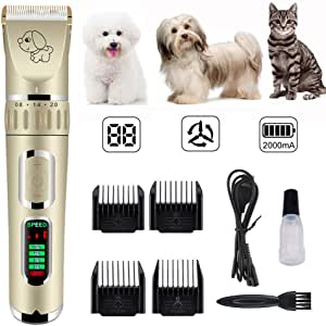 MQ Dog Grooming Clippers Kit Cordless Rechargeable Professional Pet Grooming Clippers Quiet Low Noise for Dogs Cats Hair Clippers Shaver Set Dog Grooming Kit (Gold)