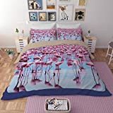 Flamingo Series Bedding Sets - MeMoreCool Polyester No Comforter No Sheet Only Covers 3 Pieces Queen 1430g