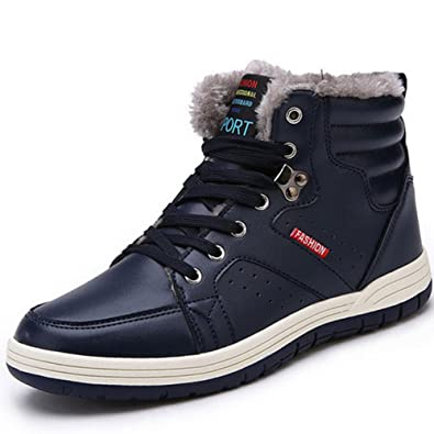 ukStore Herren Damen Winterschuhe Warm Gefüttert Winterstiefel Leder Wasserdicht Schneestiefel Outdoor Winter Boots Schnür Kurz Stiefel,Blau 38