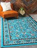 Unique Loom Sialk Hill Collection Traditional Floral Overall Pattern with Border Turquoise Home Décor Area Rug (2′ x 3′) Review