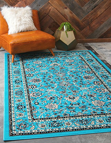 Unique Loom Sialk Hill Collection Traditional Floral Overall Pattern with Border Turquoise Home Décor Area Rug (2' x 3')