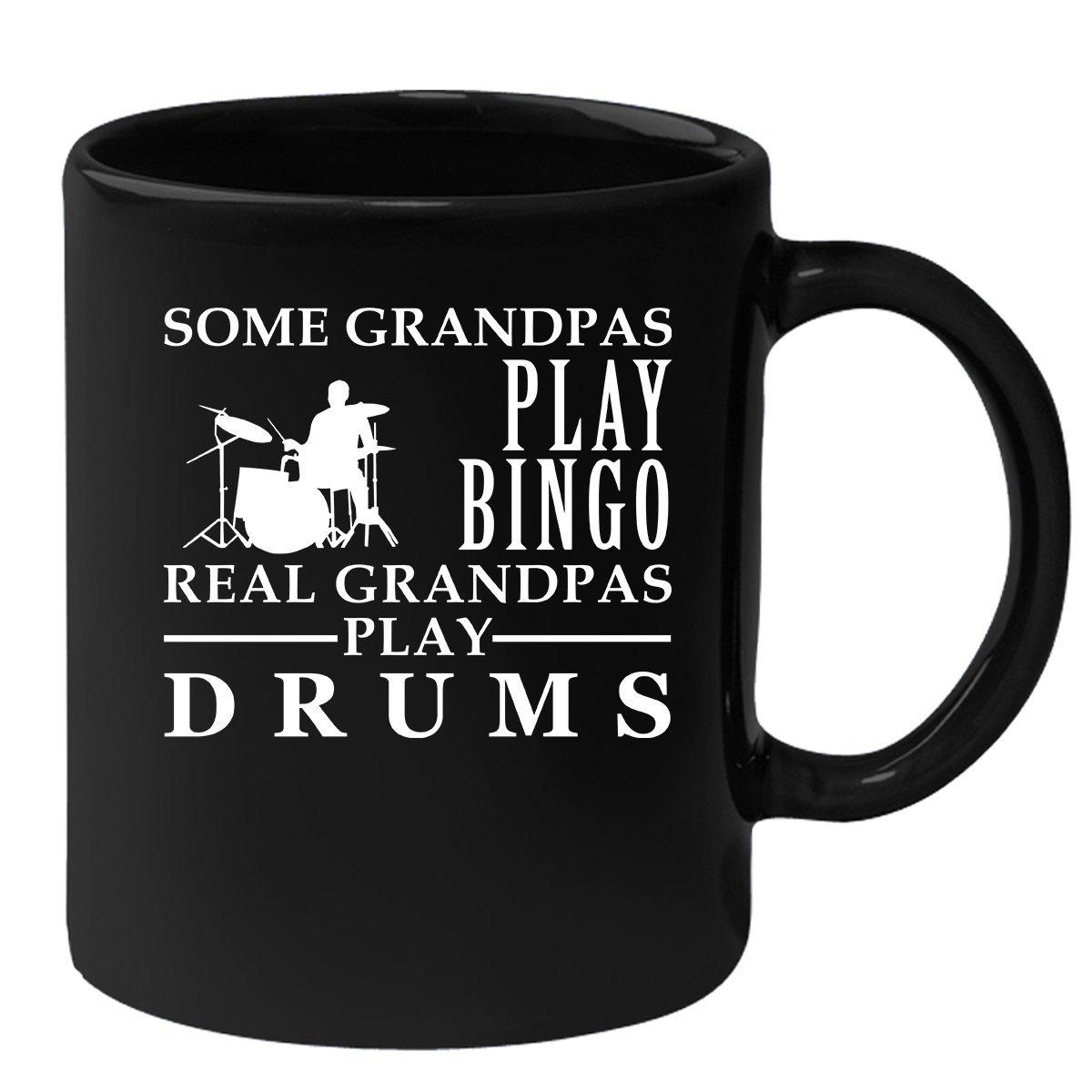 Drums Black Mug, Grandpa Birthday Present Mug, Funny Mug for Coffee 11oz Some Grandpas play bingo, real Grandpas play Drums by the cool sloth