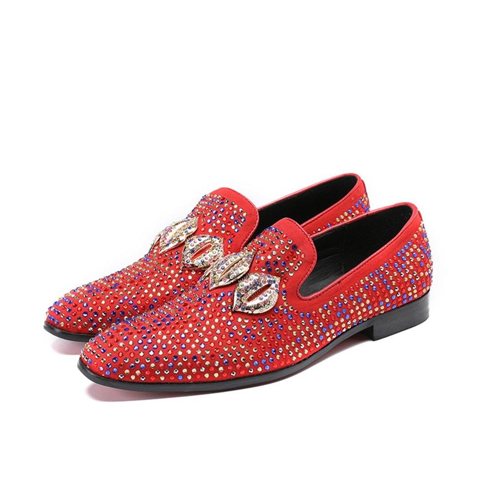 HUAN Zapatos de Hombre Summer Fall Mocasines y Slip-Ons Para Boda Casual Oficina y Carrera Fiesta y Noche Fashion Hairstylist Tide Shoes 41 EU|Rojo