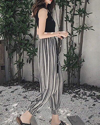 Mode Estivi Libero Alla High Eleganti Harem Stripe Coulisse Hippie Marca Con Pluderhose Donna Fashion Lanterna Nero Tempo Waist Sciolto Pantaloni Di Moda nqCHwfxP