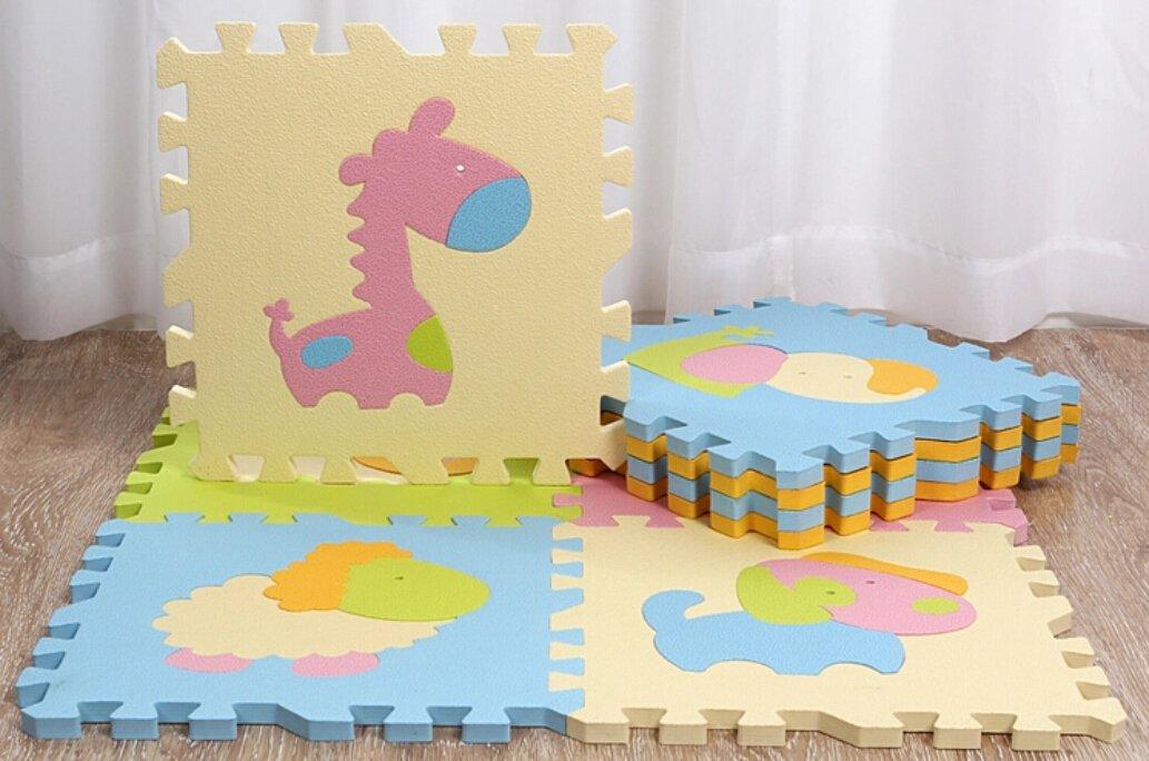 tianmei 9PCS Cute Animal Eva Foam Play Mats Boden Puzzle kriechen Play Spiel Matte für Baby Kinder-Kleinkind–Helle Farbe, umweltfreundliche Material, sicher zu verwenden ZLPXW09
