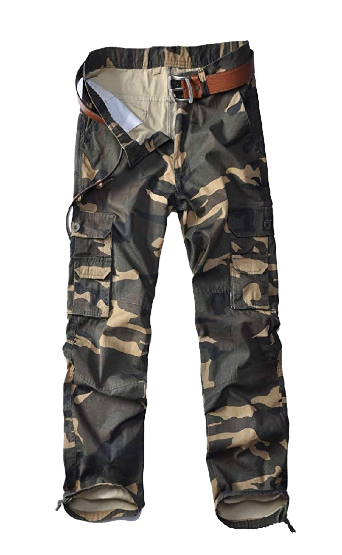 Ruhua Mens Camo Print Multi-Pocket Casual Cotton Outdoor Pants