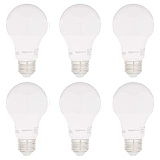 AmazonBasics 40W Equivalent, Daylight, Non-Dimmable, 15,000 Hour Lifetime, CEC Compliant, A19 LED Light Bulbs | 6-Pack