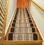 Millenium Stair Tread Treads Indoor Skid Slip Resistant Carpet Stair Tread Treads Geometric Design Machine Washable 8 ½ inch x 30 inch (Set of 13, Squares Brown)