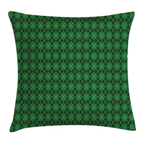 Irish Throw Cotton (si fang Irish Throw Pillow Cushion Cover by, St. Patrick's Day Celebration Inspired Vintage Pattern Argyle Tartan Dots, Decorative Square Accent Pillow Case, 18 X 18 inches, Green Dark Green White)