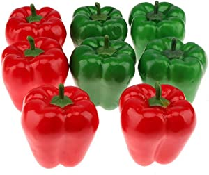 Gresorth 8 Pcs Artificial Lifelike Big Bell Red Green Pepper Fake Vegetable Home Kitchen Table Food Decoration