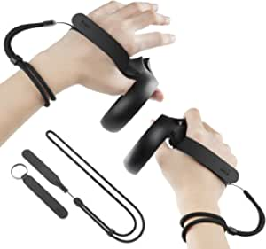 [Newer Version] KIWI design Upgraded Grips Knuckle Strap for Oculus Quest/Oculus Rift S Touch Controller Accessories with Adjustable Wrist Strap (Not for Oculus Quest 2)