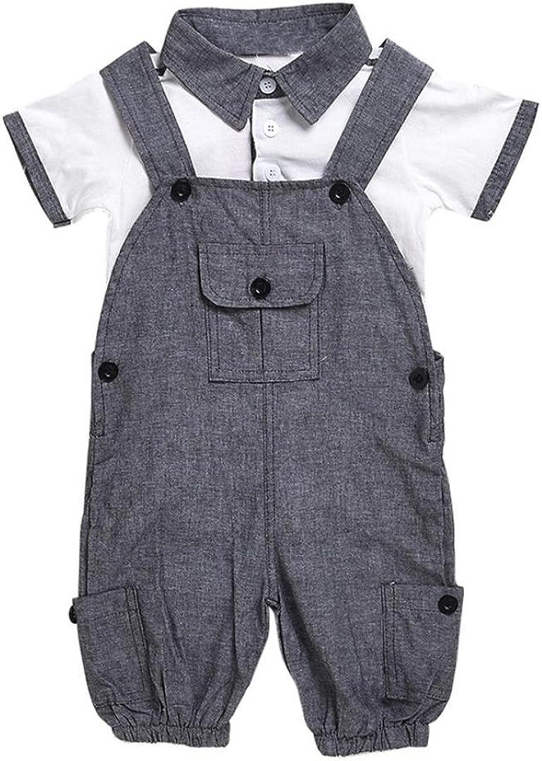Bonjouree Salopette B/éb/é Gar/çon T-Shirts Haut Salopette pour Enfant Gar/çon 0-24M