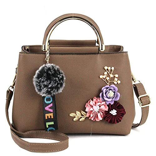 7ad4a5909c2c Amazon.com  Hot sale handbag women casual tote bag female large shoulder  messenger bags PU leather handbag with fur ball bolsa Color Khaki  24x12x18cm  Shoes