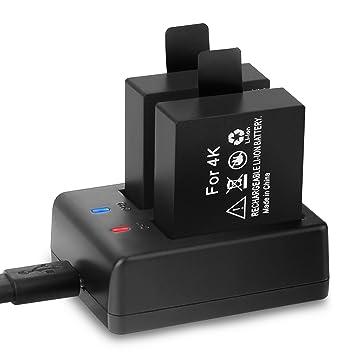 Crosstour Cámara Deportiva Baterías Recargables Dual 1050mAh con USB Cargador para Cámaras de Acción