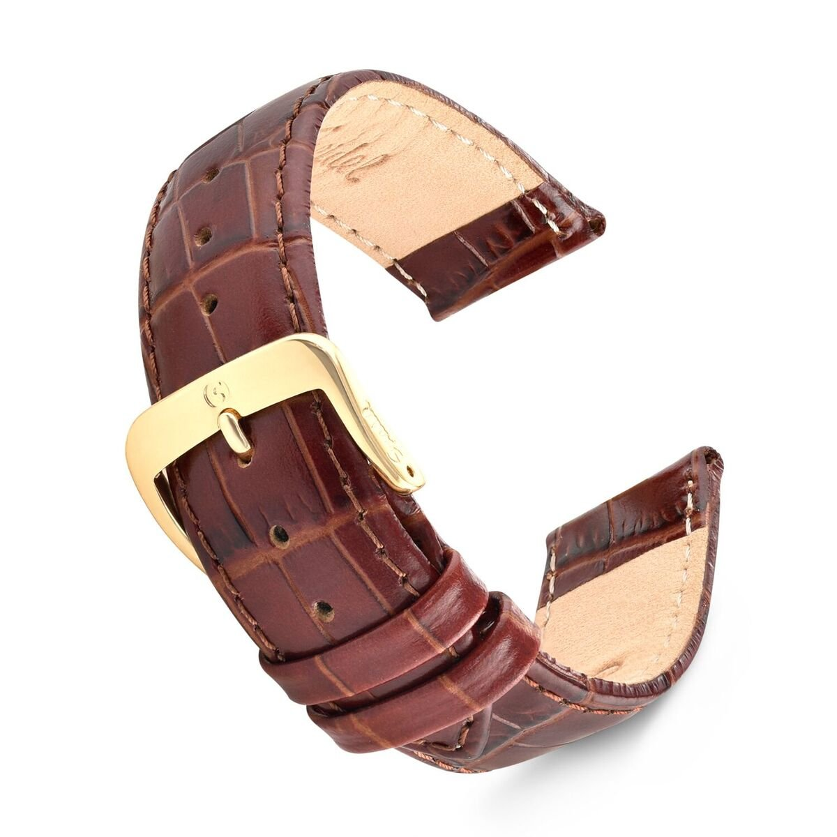 Speidel Genuine Leather Watch Band 20mm Brown Padded Alligator Grain Replacement Strap with Tone on Tone Stitching, Stainless Steel Metal Buckle Clasp, Watchband Fits Most Watch Brands
