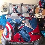 Lotus Karen Captain America Bat-Man Spider-Man Transformers Iron Man 100% Cotton Boys Kids Bedding Sets,1Duve Cover,1Flat Sheet,2Pillowcases King Queen/Full Twin Size