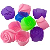 10pcs Cake Baking Mold Chocolate Jelly Maker Mould Silicone Rose Muffin Cookie Cup (Random Colors)