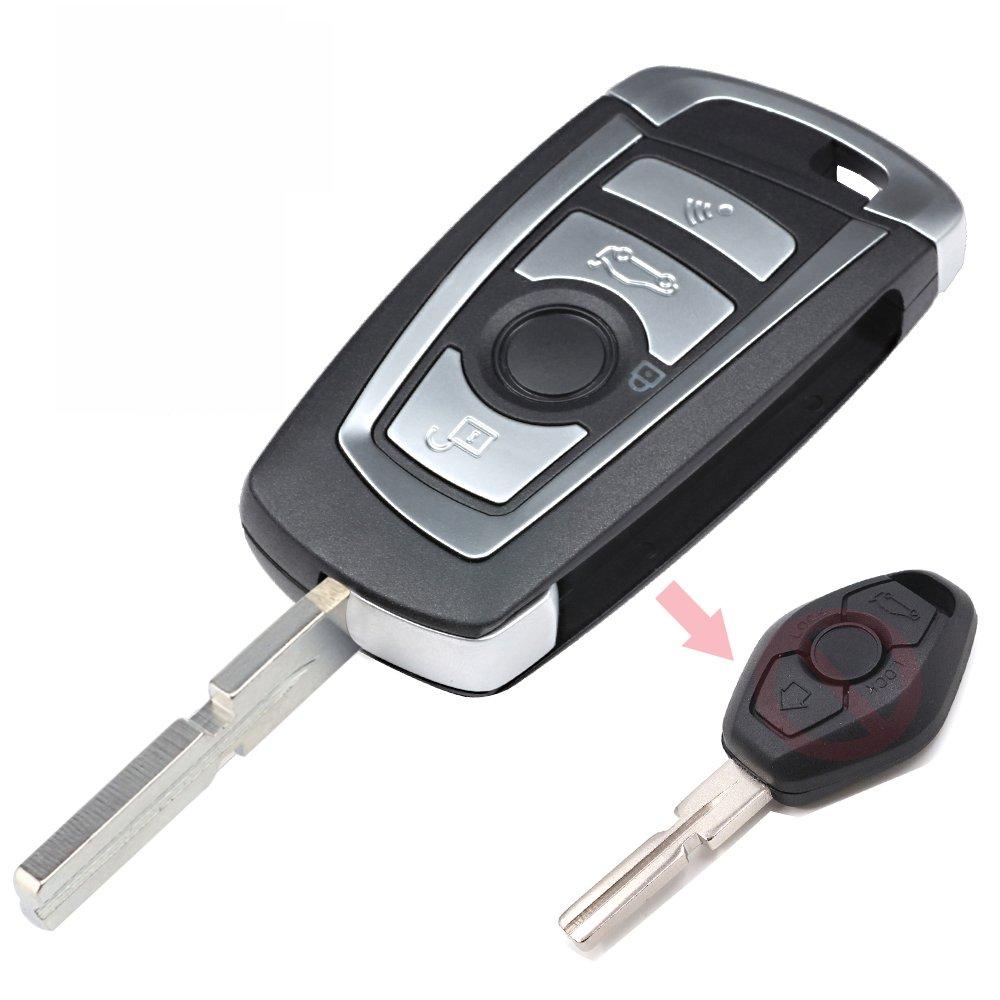 Keyecu Modify Flip Key Replacement for BMW 1998-2009 Remote Key - EWS - 315Mhz - HU58, FCC ID: LX8FZV
