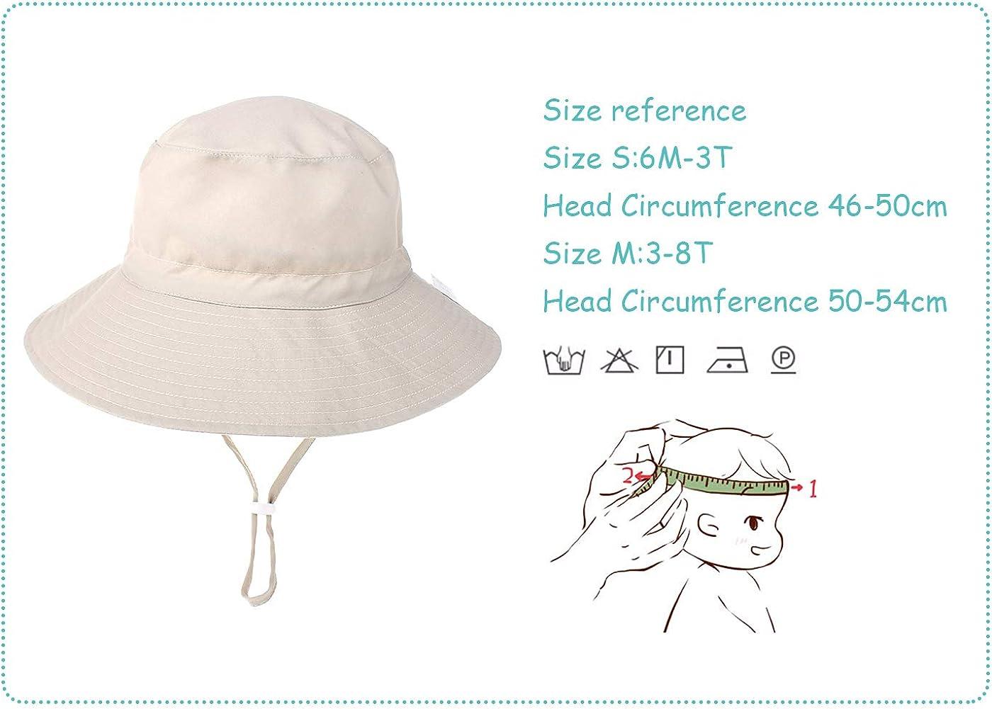Happy Cherry Baby Sonnenhut UV Schutz Atmungsaktiver Baumwolle Fischerhut M/ädchen Junge Freibad Breite Krempe Nackenschutz Hut