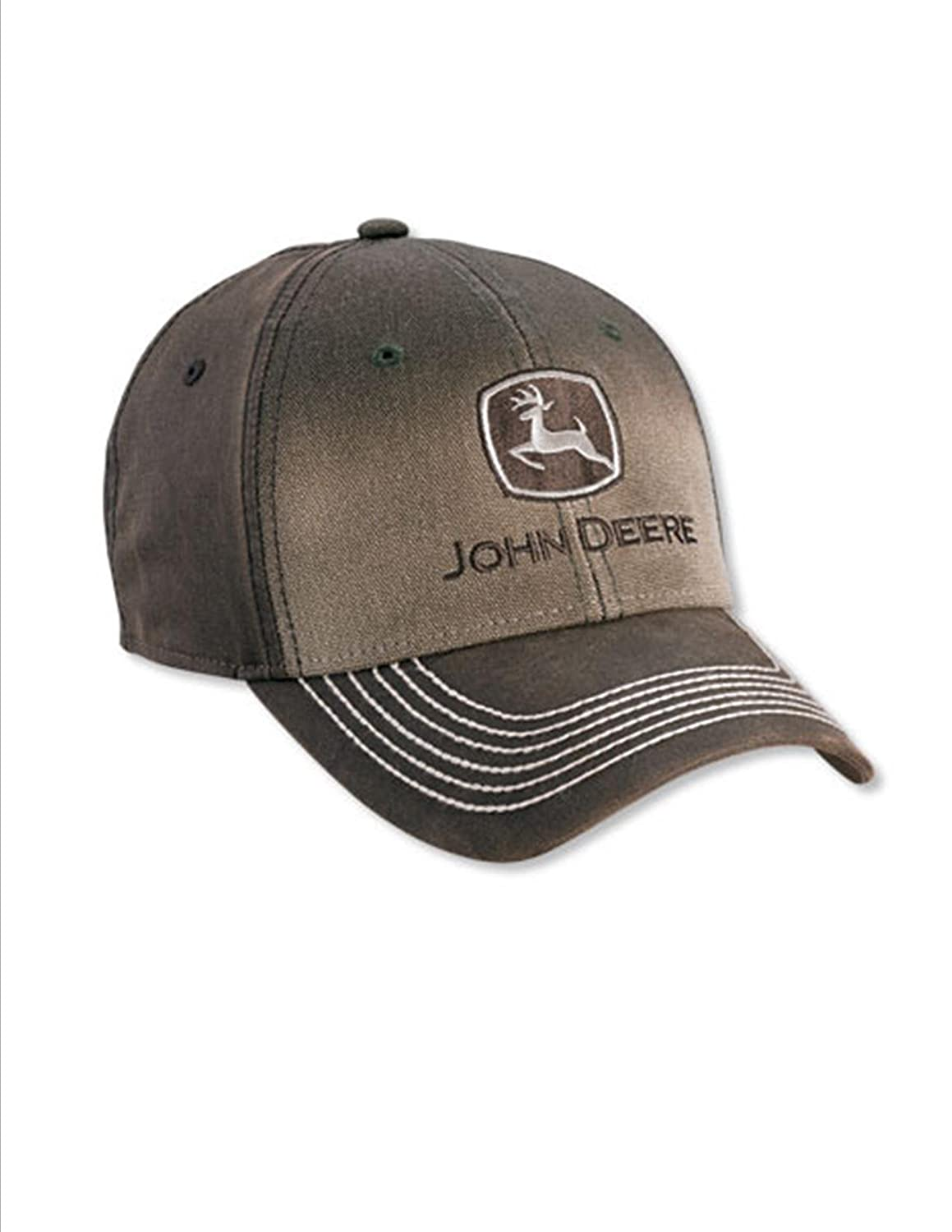 'John Deere .' Brown Gradient Canvas Cap Coated Canvas Back and Visor Hat