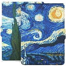 Capa para Kindle Básico da 8a geração - Estampada - Rígida - Fecho Magnético - Hibernação - Base Branca (Noite Estrelada)